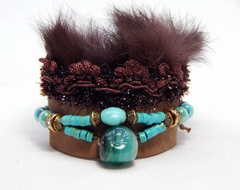 Fur and leather Cuff Bracelet