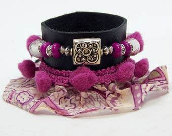 Ruffle and black leather Cuff Bracelet