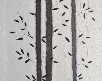 Contemporary painting, zen style, bamboo, stylized, white and gray, mixed media