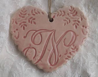Glazed ceramic hanging, Scalloped edges, heart pink letter vintage ' feel