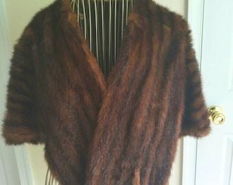Vintage 1950's brown mink fur wrap / cape / jacket / coat