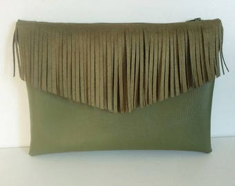 Faux leather and khaki suede fringed pouch