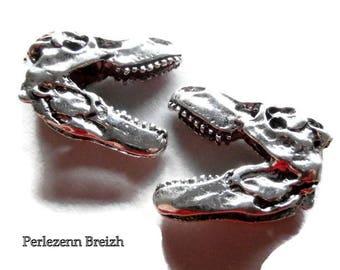 1 large charm pendant 3D skull T - Rex dinosaur 35x32mm silver colored metal