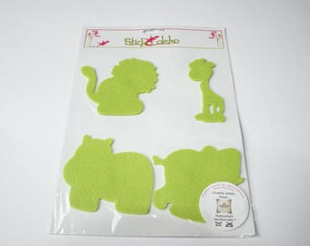 Felt animals green 9 cm stickers