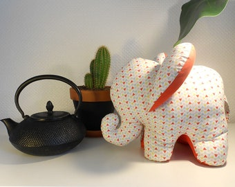 Decorative elephant graphic Collection white and Orange