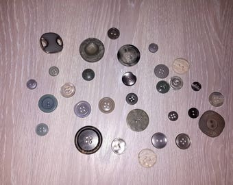 Set of 30 vintage gray buttons n * 2