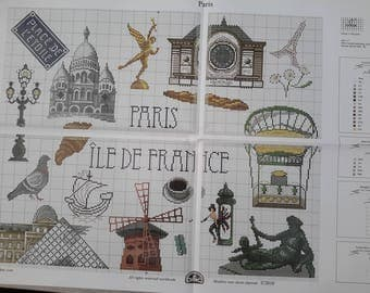 grid chart depicting paris and its monuments