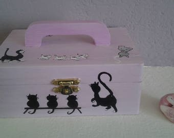 """wooden suitcase """"the cat walk"""" acrylic painting"""