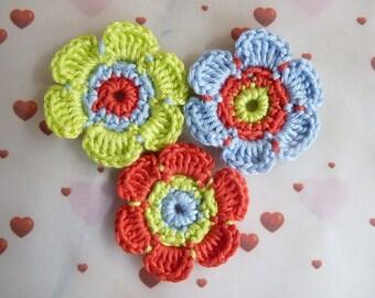 Set of 3 cotton crochet flowers