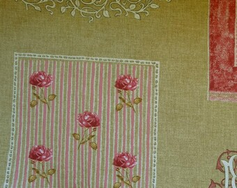 Coupon 115 x 80 cm MFTA lace, beige French toile pink
