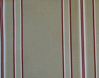 Coupon 140 x 105 cm red and white striped canvas, canvas bag making
