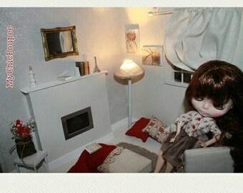 DIORAMA, BLYTHE, OOAK, Momoko, wrist scale 1/6 with light