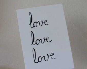 "Postcard ""love love love"""