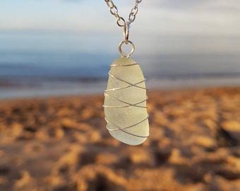 Triple Cross White Sea Glass Pendant Necklace
