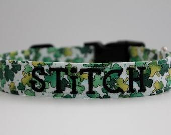 Lucky Charm Collar,St. Patrick's Day Collar, Clover Collar, March Dog Collar, Embroidered Collar, Custom Collar, Personalized Dog Collar