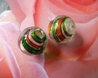 round 16 mm in diameter set of 2 murano glass beads