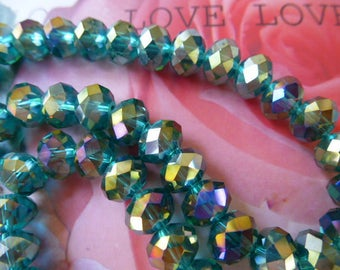 Crystal beads set of 8 8 x 6 mm Emerald iridescent faceted