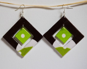 Large square earrings Apple green and Brown