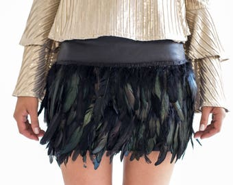 FAYE Rooster Feather and Leather Skirt