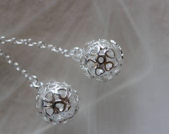 ❥ Charm hearts in 925 sterling - silver sphere