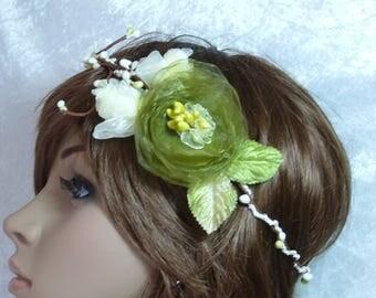 headband in moss green and ivory bridal headband