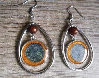 Rings drop earrings silver orange green cabochon