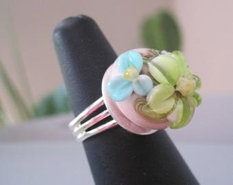 * Silver plated Adjustable ring made with gorgeous PASTEL cabochon