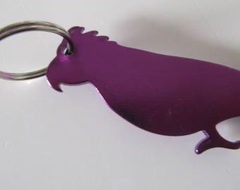 Metal Keyring bottle depicting a purple Parrot