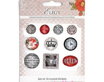 "Set of 10 crystal stickers ""Elegy"" (réf.510) scrapbooking embellishment stickers *."