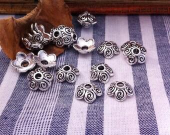 30 decor swirl, round, antique silver bead caps