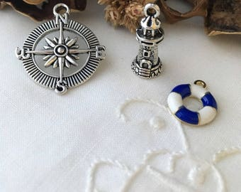 antique mixed set of 3 marine theme, silver charms