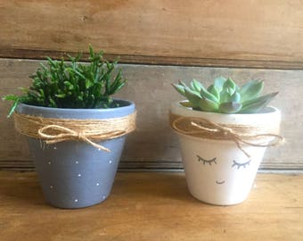 Decorative terracotta with string for cactus and succulent pot
