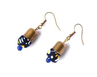 Earrings ethnic-inspired African wax