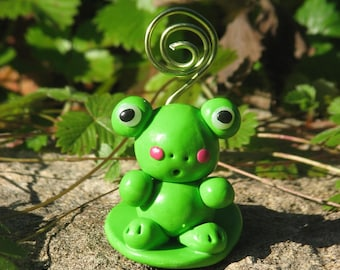 Picture frame frog figurine decoration - Fairy decoration boy bedroom - Frog figurine place table decoration christmas, baptism, wedding