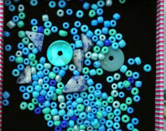 SEED beads, 13g, 4mm, blue, green turquoise