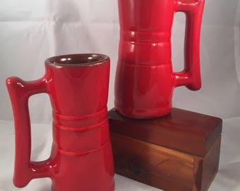 Vintage Frankoma Pottery Cups/Mugs(2) Flame Red Demitasse