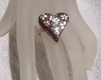 Raspberry Chocolate heart Adjustable ring silver