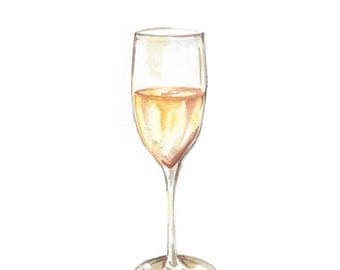 Champagne Watercolor Print