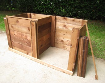 Compost Bin - Double Close-Boarded Sturdy Wooden Twin Composting Box/Removable Front/Optional Lids and Aerating-Bases/Garden Compost Maker