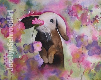 Floral Bunny Print