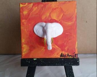 Miniature acrylic painting - elephant