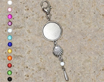 Support cabochon 25 mm for bag charm or door key, shell