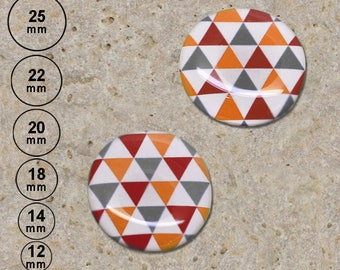 2 cabochons 20 mm resin red grey orange triangles print is available in 25, 22, 18, 14, 12 mm
