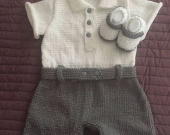 T-shirt White and grey shorts with slipper set