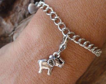 Elephant, Savannah, Tibetan silver adjustable silver curb chain bracelet. Silver metal.