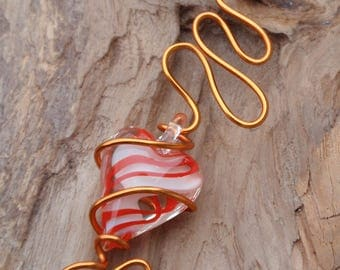 Necklace and pendant, Choker the steel Silver with orange aluminum pendant with a blown glass murano heart