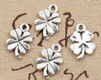set of 5 4 leaf clover charms