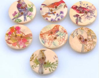 Set of 10 wooden bird buttons