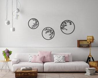 Set of 3 wall art, metal wall decor, japanese metal wall art, botanical print set, botanical art, laser cut metal art, wedding gift, glyphs