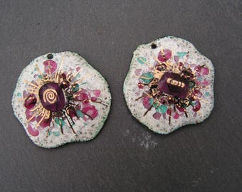 enamelled copper (hot) charms 2 large flowers